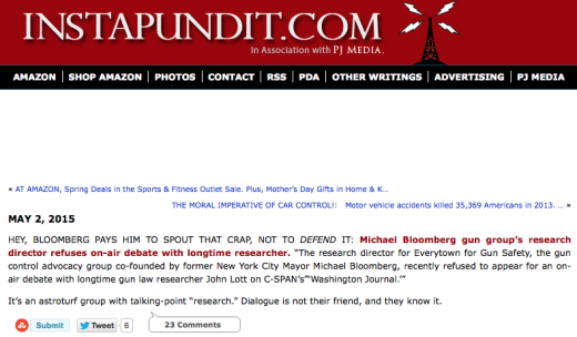 Instapundit on Bloomberg unwilling to debate