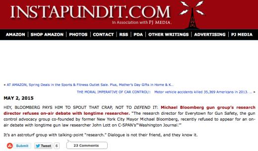 Instapundit on Bloomberg unwilling to debate