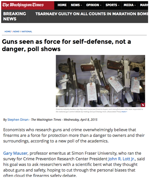 Washington Times Survey of Economists on Guns