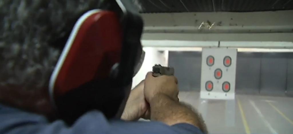 Gun at shooting range