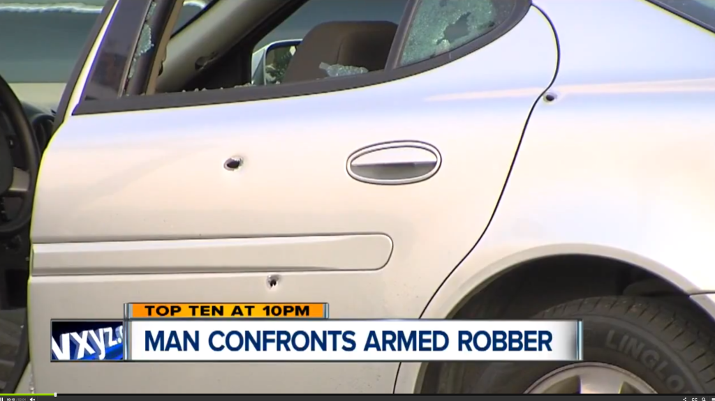CCW permit holder's car shot up by armed robber