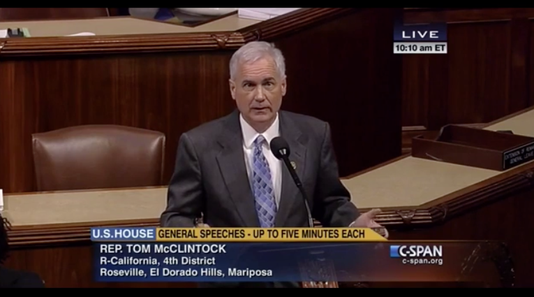Rep Tom McClintock in House well
