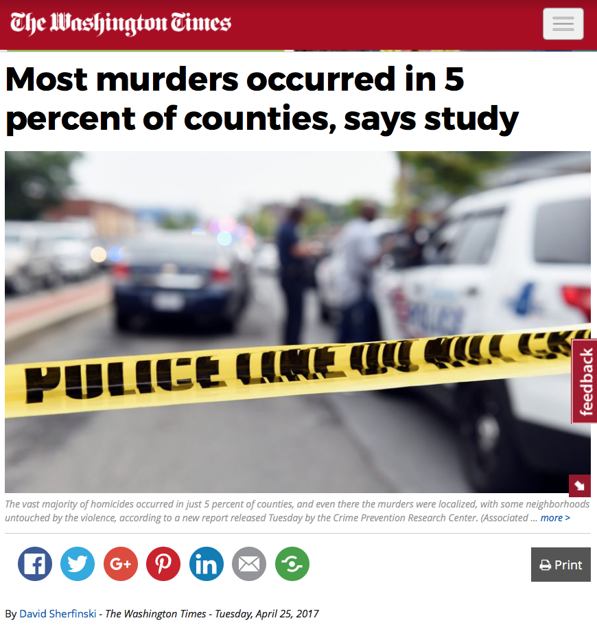 CRPC Research Showing That Most US Murders Occurred In  Of - Us how many counties