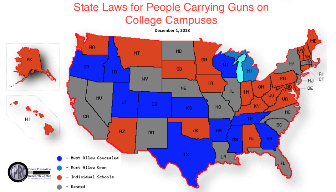 Twelve States Mandate People Can Carry Guns On College Campuses 23
